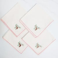 Vintage Napkins: Hand Stiched with Red and Green Branch Design