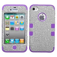 For iPhone 4 4S BLING IMPACT TUFF HYBRID Case Skin Phone Cover Silver Purple