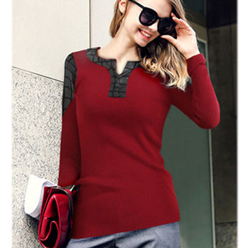 PU Leather Accent Long Sleeve Sweater