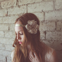 Flapper style champagne flower headband with tassel detail- style 613