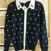 Blue Polka Dot Embroidered Long Sleeve Shirt Collar Knit Cardigan