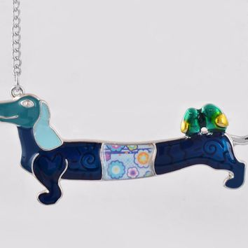 Casual Fashion Jewelry for Women Enamel Dogs with Bird Statement Animal Cute Pendant Necklace with Long Chain