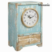 Wooden table clock vintage blue by Homania