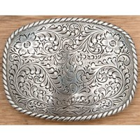 M&F Western Products® Silver Rectangular Floral Etched Buckle