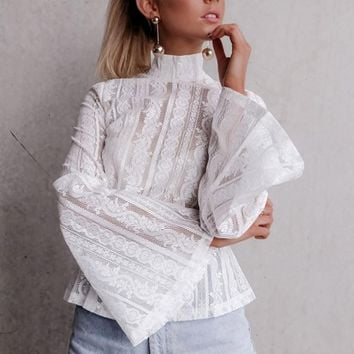 2017 Women Autumn Blouses Sexy White Black Lace See Through Flare Sleeve Long Sleeve Tops Shirt Womens Clothing Blusa Feminina