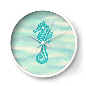 Seahorse Nautical Wall Clock, Aqua Seahorse on a Bubbly Sea