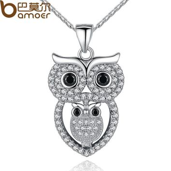 BAMOER Vintage Owl Pendant Necklace with AAA Austrian Zircon  White Gold Color Summer Collection Animal Jewelry YIN047