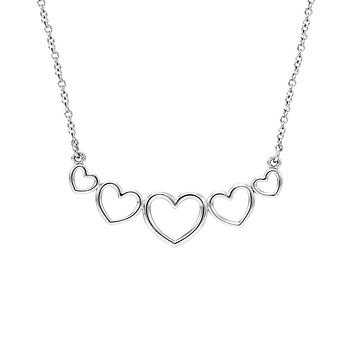 Graduated Heart Necklace in 14k White Gold, 17.25 Inch