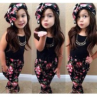 3pcs Toddler Infant Girls Outfits Headband+T-shirt+Floral Pants Outfit Kids Summer Clothes Set 1-8Y