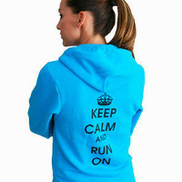Keep Calm and Run On Hoody in Neon Heather Blue - Unisex