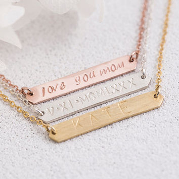Hand Stamped Bar Necklace Personalized Bar Necklace Birth Date Name Initial Roman Numeral Gift for Her Mom Sterling Silver LUVINMARK LVMKH21