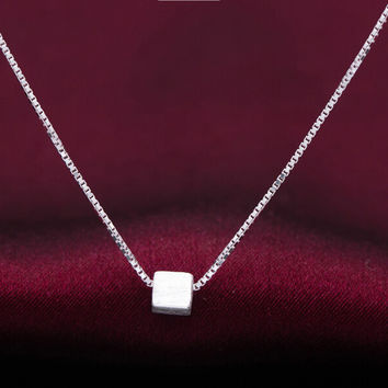 925 sterling silver simple cube necklace,a perfect gift