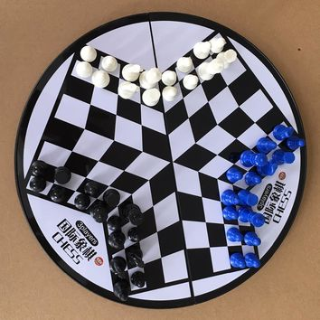 Pleasure Chess 3Players Magnetic Folding Board Set Portable Folding Board Chesses Game Foreign Trade Training Special Chess