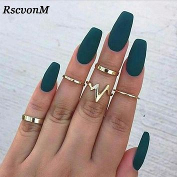 RscvonM 5Pcs/Set Punk Rock Gold Stack Plain Band Midi Mid Finger Knuckle Rings Set for Women Mid Finger Ring Thin Ring Fashion