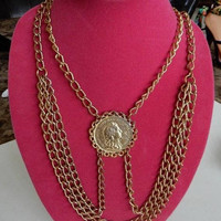 ON SALE Vintage Multi Strand Gold Tone Coin Bib Necklace Pendant 1960's 1970's Collectible Vintage Statement Jewelry