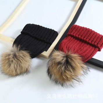 KNB005 Winter Warm Striped Knitted Hat Acrylic Cable Curled Removable Women Beanies Skullies Natural Genuine Fur Pom Pom Cap