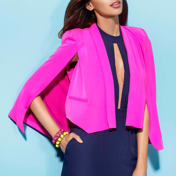 METRO - Fuchsia Tailored Cape Style Jacket