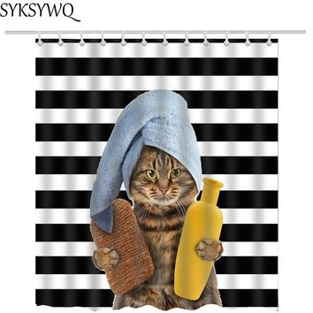"""Cat Getting Ready To Take Shower"" & ""Peek-A-Boo Cat"" - Shower Curtains"