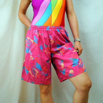 Vintage 80s Pink Swiming Trunks Shorts by RogueRetro on Etsy