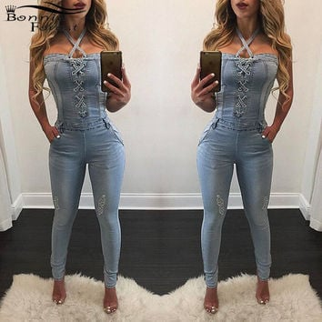 Cross Out Jean Jumper Women Sexy Halter Lace Up Denim Rompers jumpsuit Fashion Off Shoulder Stretch Jean Catsuit Denim Overalls