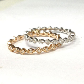 Diamond Wedding Ring 14K Rose Gold,Art Deco Antique,Round Diamond Full Eternity Matching Band,Anniversary Fine Ring,Stackable,Thin Design
