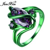JUNXIN Male Female Pruple Ring Green Gold Filled Vintage Wedding Engagement Rings For Men And Women Fashion Jewelry