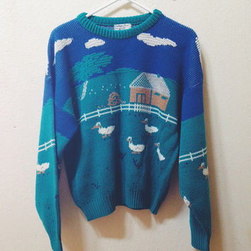 Vintage Farm Animal Printed Comfy Sweater