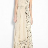 Splatter Print Maxi Self Belt Gown