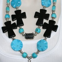 Chunky Cowgirl Concho Necklace, Blue and Black Turquoise Statement Necklace, Rodeo Necklace