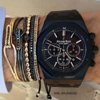 AP Audemars Piguet Wristwatch Mechanical Watch With Open Bracelet Trending Women Men Micro - Zircon Gentleman Bracelet