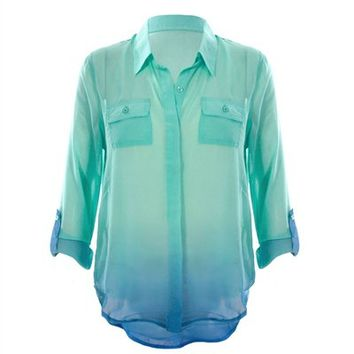 Womens Plus Size Top Ombre Chiffon Blouse, Blue/Mint