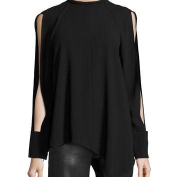 Long-Sleeve Mock-Neck Top, Black, Size: