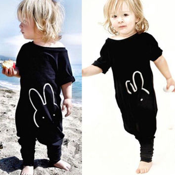 Kids Baby Boy Clothes Romper Jumpsuit Black Cotton Clothing Boys Girls Newborn Cotton Rabbit Bunny Girl Clothing