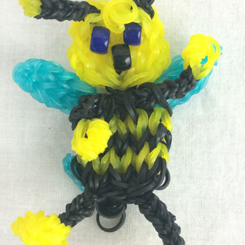 Bumble Bee Made out of Rainbow Loom Handmade Rubber Bands Party Favors Keyring