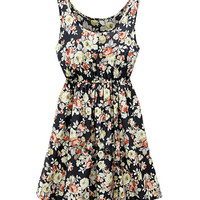 Black Floral Print High Waisted Skater Dress