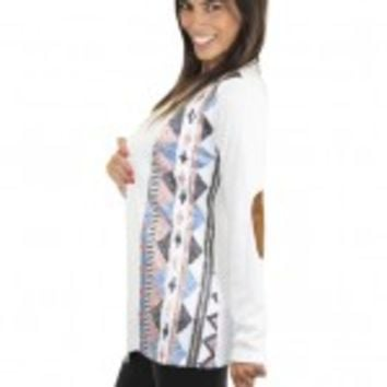 Ivory Sequin Cardigan With Elbow Patches