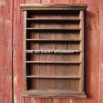 Incroyable Barnwood Display Cabinet, Shot Glass Rack