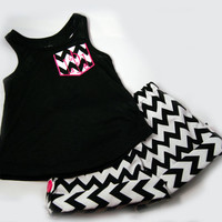 Chevron Shorts Embroidered Pocket T Black and Pink Boutique Clothing  6, 7, 8, 10, 12 and 14