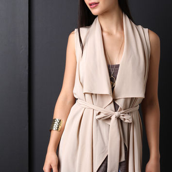 Textured Open Front Belted Wide Collar Vest