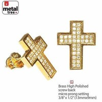 Jewelry Kay style Men's Hip Hop Cross Brass Gold Plated M Pave CZ Setting Screw Back Earrings 962G