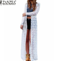 Autumn Women Outwear Lace Crochet Long Sleeve Beach Kimono Cardigan Casual Loose Long Blouses Tops US Plus Size 4-22