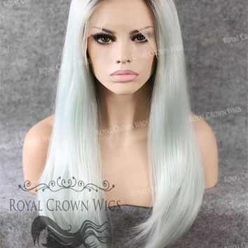 """24"""" Heat Safe Synthetic Straight Texture Lace Front """"Aphrodite"""" in Rooted Ash Blue"""