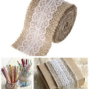 5M Wedding Decor Natural Jute Trims Tape Burlap Hessian Ribbon with Lace Rustic  (Size: 5 m) = 1932349892