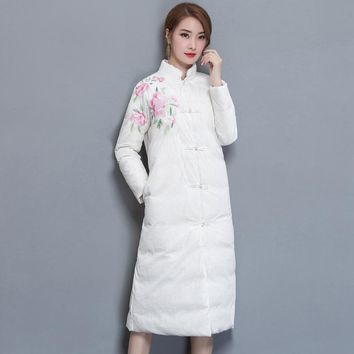 Chinese style embroidery long collar down jacket [288440254505]