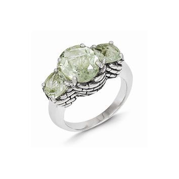 Antique Style Sterling Silver 5.15 Green Amethyst Ring