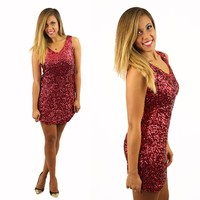 Sequins & Sparkly Things Dress in Red