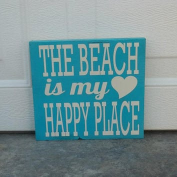 The Beach Is My Happy Place 12x12 Wood Sign
