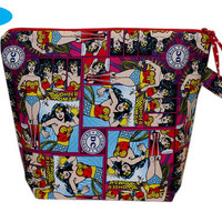 NEW Wonder Woman Knitting Tote | Large Project Bag | Large Zipper Knitting Bag with Pocket | Yarn Guides