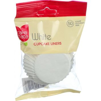 Cake Mate Cupcake Liners - Standard Size - White - 50 Count - Case Of 12