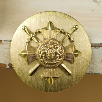 Large Vintage Crest Shield Pin Brooch by My3Chicks on Etsy